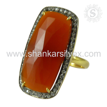 Imperious design silver ring jewelry carnelian,white cz gemstone 925 sterling silver jewellery exporters