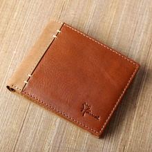 Exclusive design high quality genuine leather dual color combination men's RFID blocking wallet