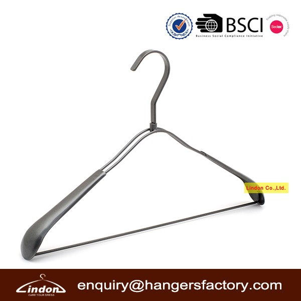 Assessed Supplier LINDON custom wide shoulder black metal hanger for coat