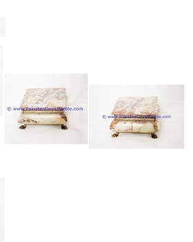Imports Decorative White Onyx Stone Box