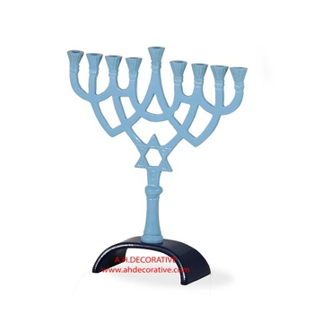 Aluminum Colored Enameled Menorah