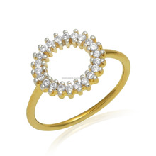 Indian gold plated setted CZ jewelry in 925 silver ring
