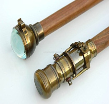 Set of Two Clock/telescope Wood Walking Stick-cane Brass Clock/telescope Handle