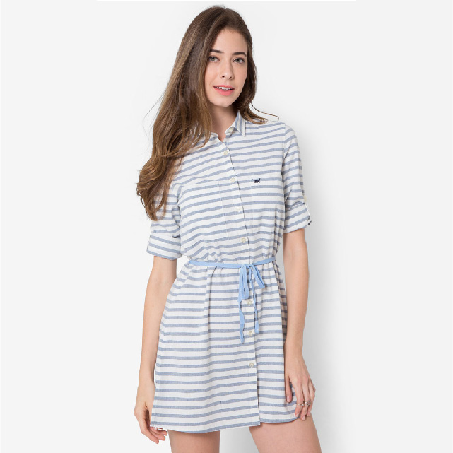 Casual Stripe Dress With Waist Strap 100% Cotton