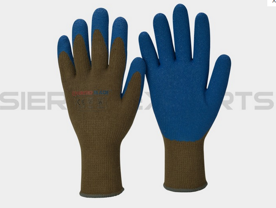 10G Aramid / Polyester Cut # 5 Blue Latex Palm Dipped Wrinkle Finish Long Cuff Glove