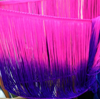 Ombre dyed 2-tone & 3-tone chainette fringe, nylon&Polyester&Rayon, 196 different colors