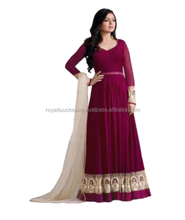 Women Maroon Color Floor Length Indian Anarkali Style Semi Stitched Dress Material suits 2017