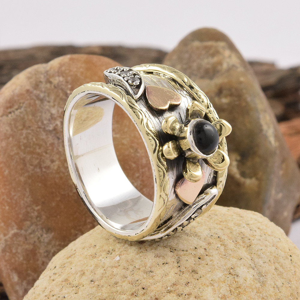 Wholeness Gemstone Jewelry Black Onyx Ring 925 Sterling Silver Ring Competitive Price Indian Silver Jewelry Ring