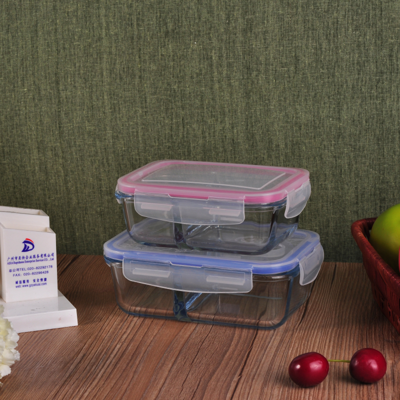 Large Lunch Meal Box Glass Food Storage Container Bowls Set with Lid