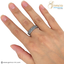925 Sterling Silver Ring, Natural Black Diamond Wedding Band Ring, Pave Diamond Rings