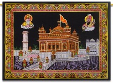 Gurudwara Wall Hanging Indian Cotton Poster Tapestry Size Sequin Wall Decor