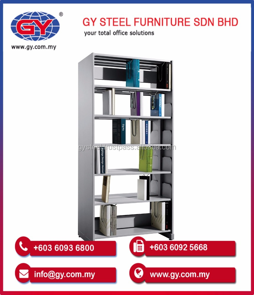 Double Sided Library Steel Display Book Rack with Adjustable Shelves Office Furniture (GY607)