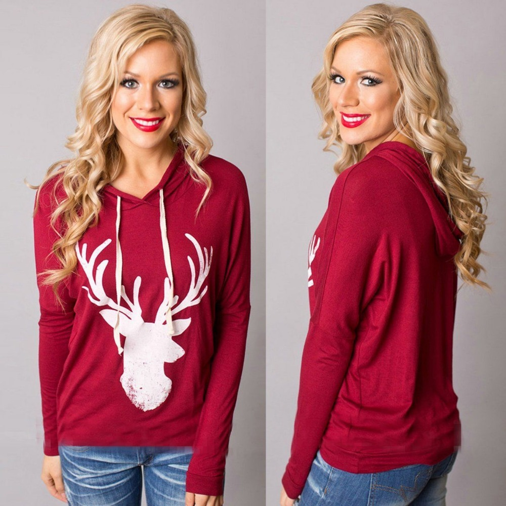 Women Fashion Deer Print Long Sleeve T shirt Hooded Hoodie Jumper Pullover Best Quality
