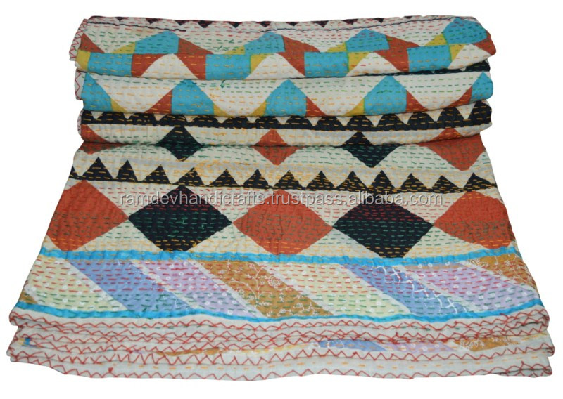 Indian authentic vintage artisan thick kantha quilt blanket throw patchwork boh upcycled