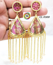 Elegant Latest designer handmade gold plated thewa drop tassel earrings factory direct