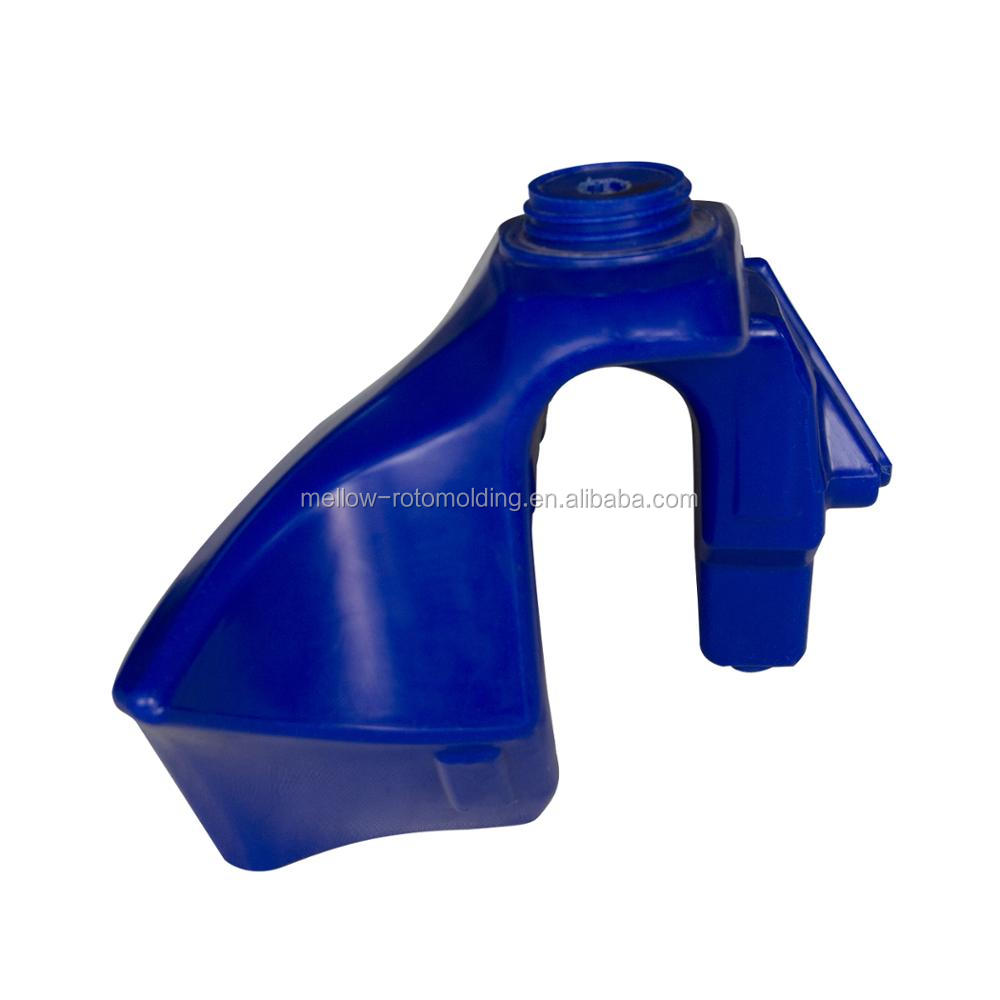 Rotational molded plastic gasoline tank for motorcycle