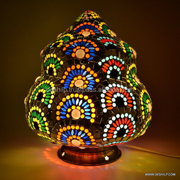 Mosaic Table Lamp, Decorated lamp Antique glass mosaic table lamp showpiece