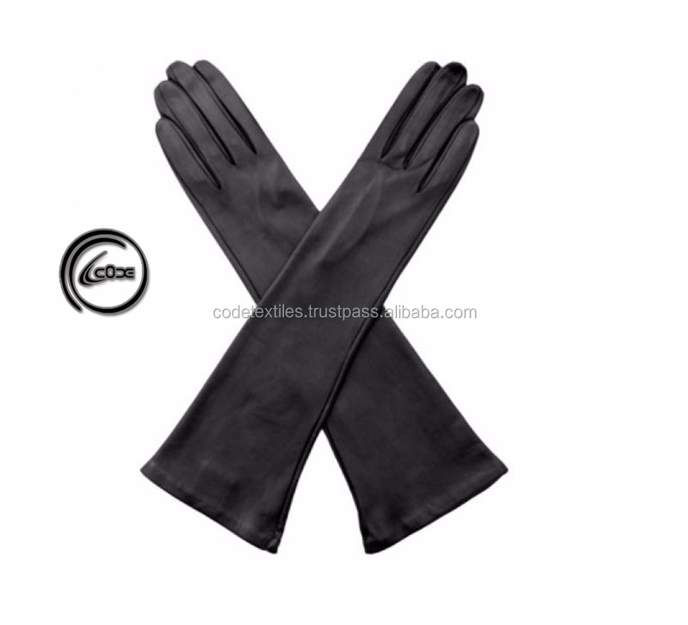 Latest Women Winter Long Gloves Design Fashion Women's Leather Fashion Gloves 2018