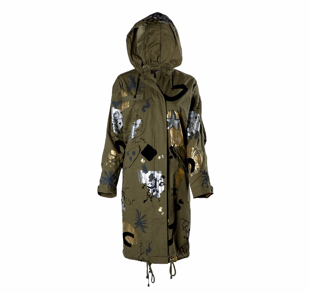 Trendy Foil Print Women Parka with Hoodie - 1st Quality Export Leftover - 1352
