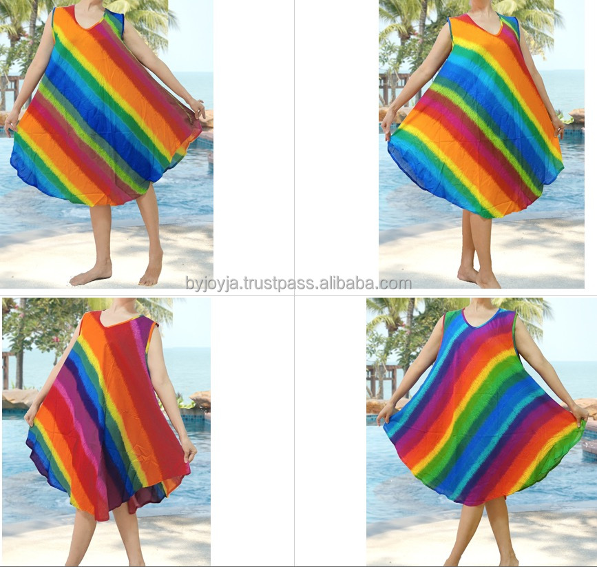 HIPPIE BOHO thai print rainbow color block rayon women beach maxi sleeveless umbrella summer dress plus size