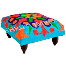 Living Room Cushioned Ottoman Seat Upholstered Wooden Foot Stool Feet Rest Stool