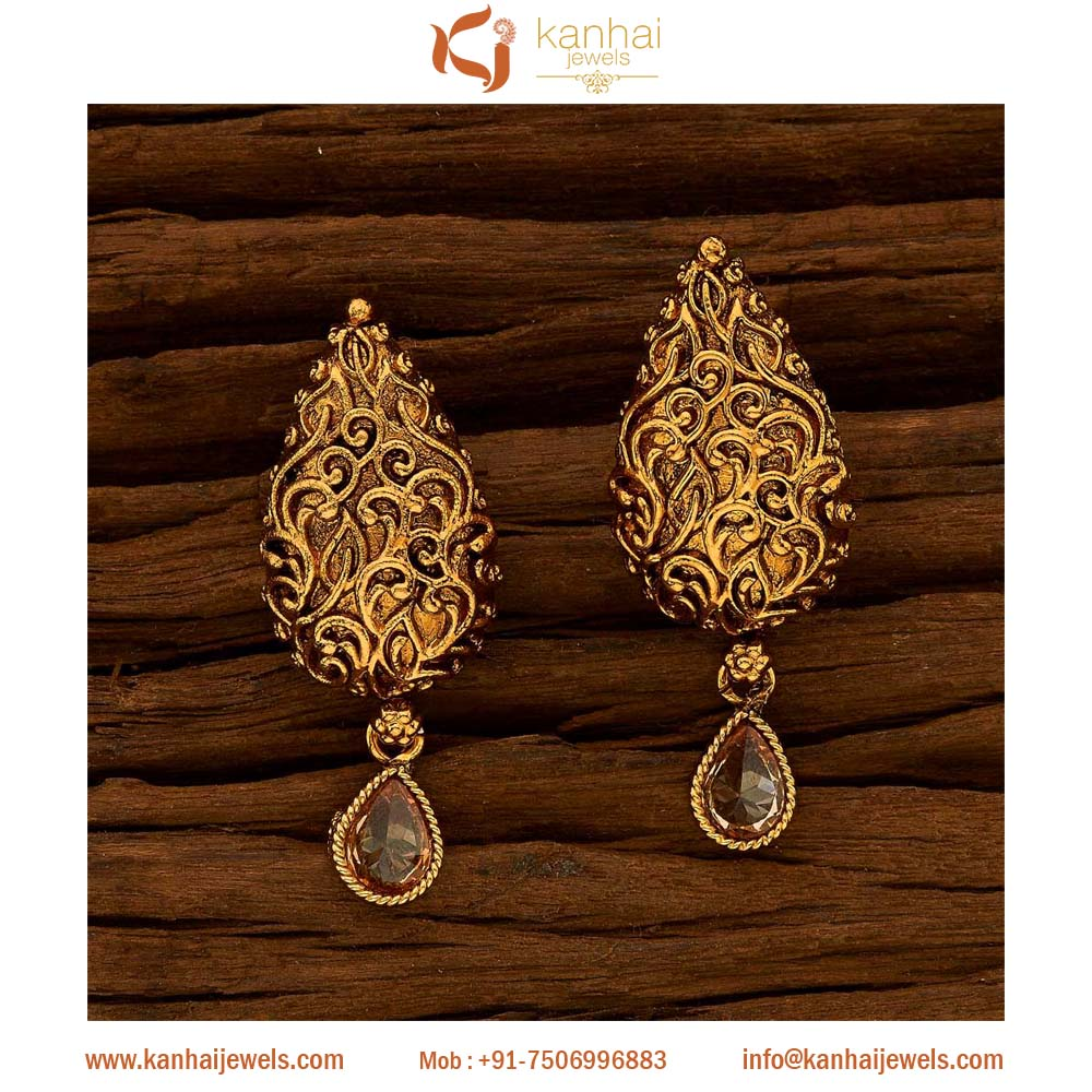 Traditional indian antique gold plated stud tops earrings jewellery manufacturers in mumbai, artificial indian jewellery - 15668