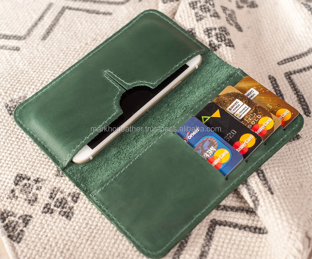 Personalized Genuine Leather Wallet IPhone 7, Wallet IPhone 8 Case, Long Leather Wallet - Green