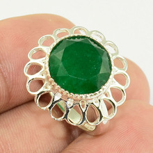 Wholesale in stock green emerald rings wholesale jewelry 925 silver jewelry rings handmade silver jewelry supplier