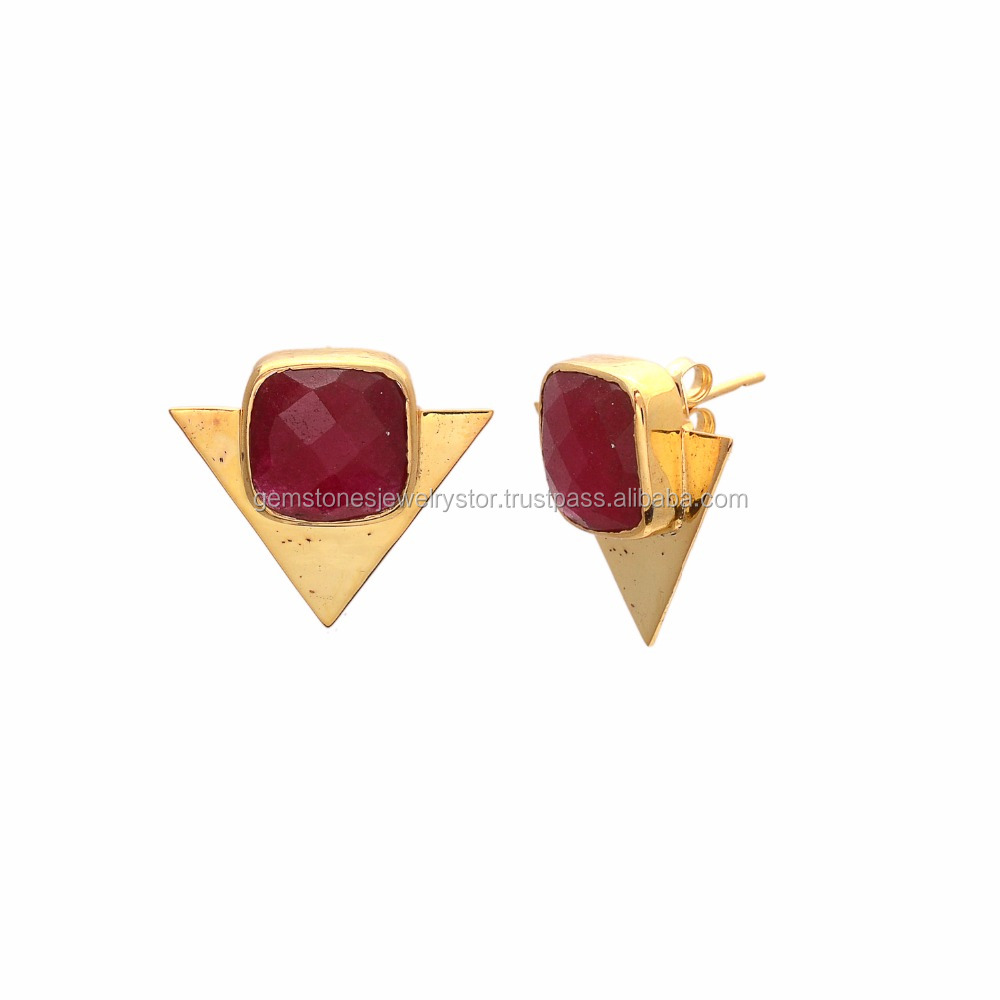 Natural Ruby Cushion Shape Gemstone 925 Sterling Silver Earring, Silver Jewelry Wholesaler