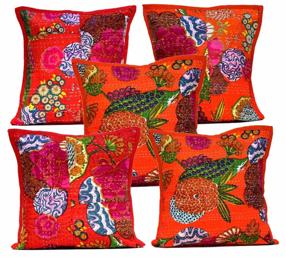 Home Decor Boho Pillow Shame Indian Cotton Cushion Cover Kantha Floral