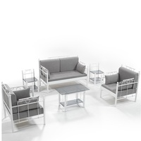 CHEAPEST Garden Furniture Set 4 pieces + Coffee Table- White Metal Frame and Gray Pillows