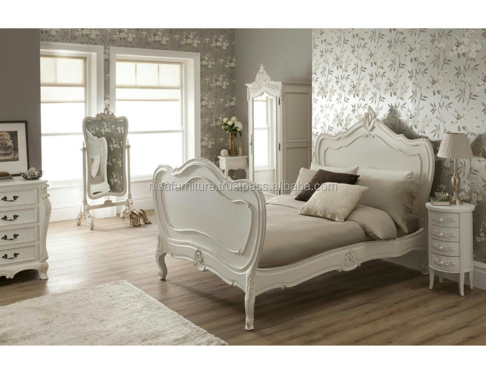 White furniture sets, french country bedroom furniture set design decorate carved wood bed