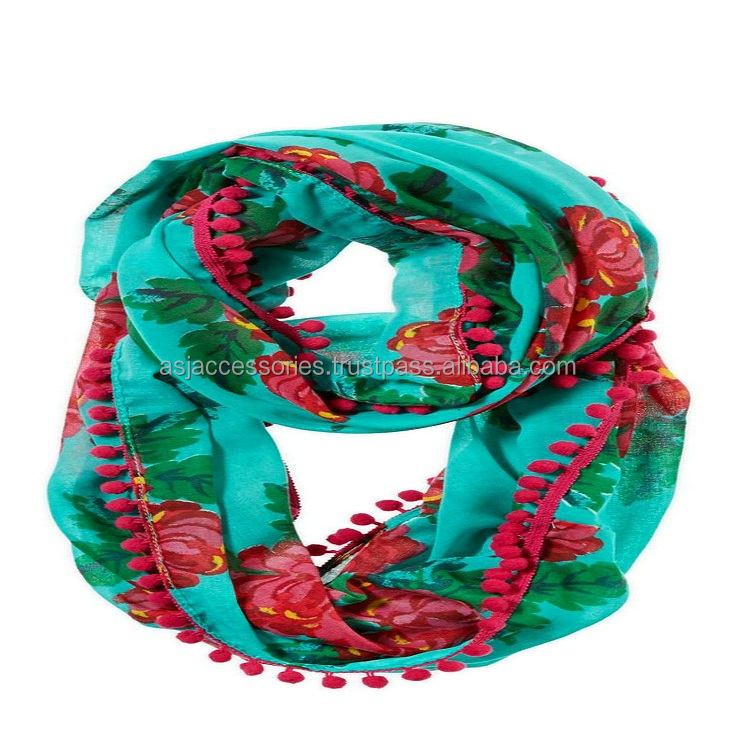 cheap price for promotion Viscose Spun Scarves Pom Pom Scarf