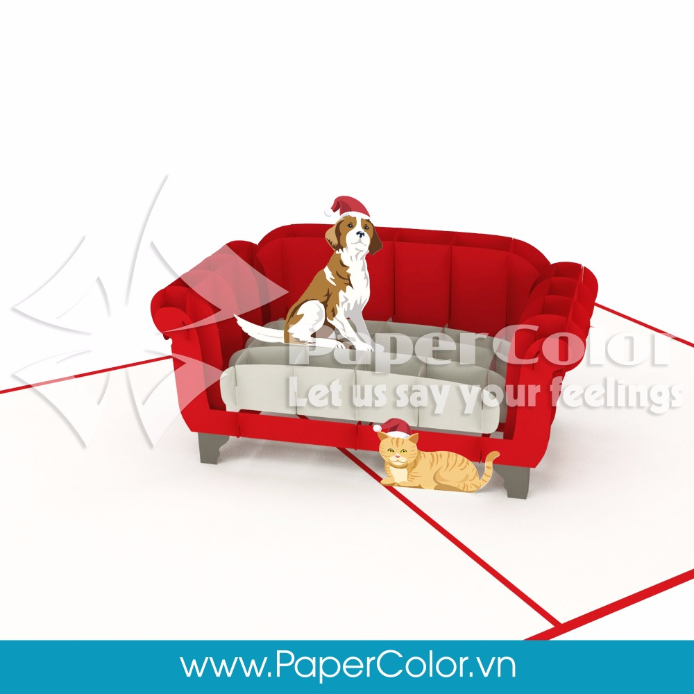 Lovely Dog and Cat on Sofa 3D Handmade Pop-Up Christmas Greeting Card