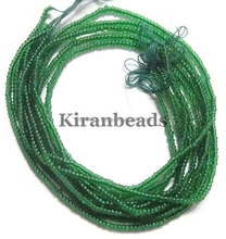 "Emerald Hydro Seed Beads Each strand is 10.5"" long, Beads measure 2-2.5mm Long Strand"
