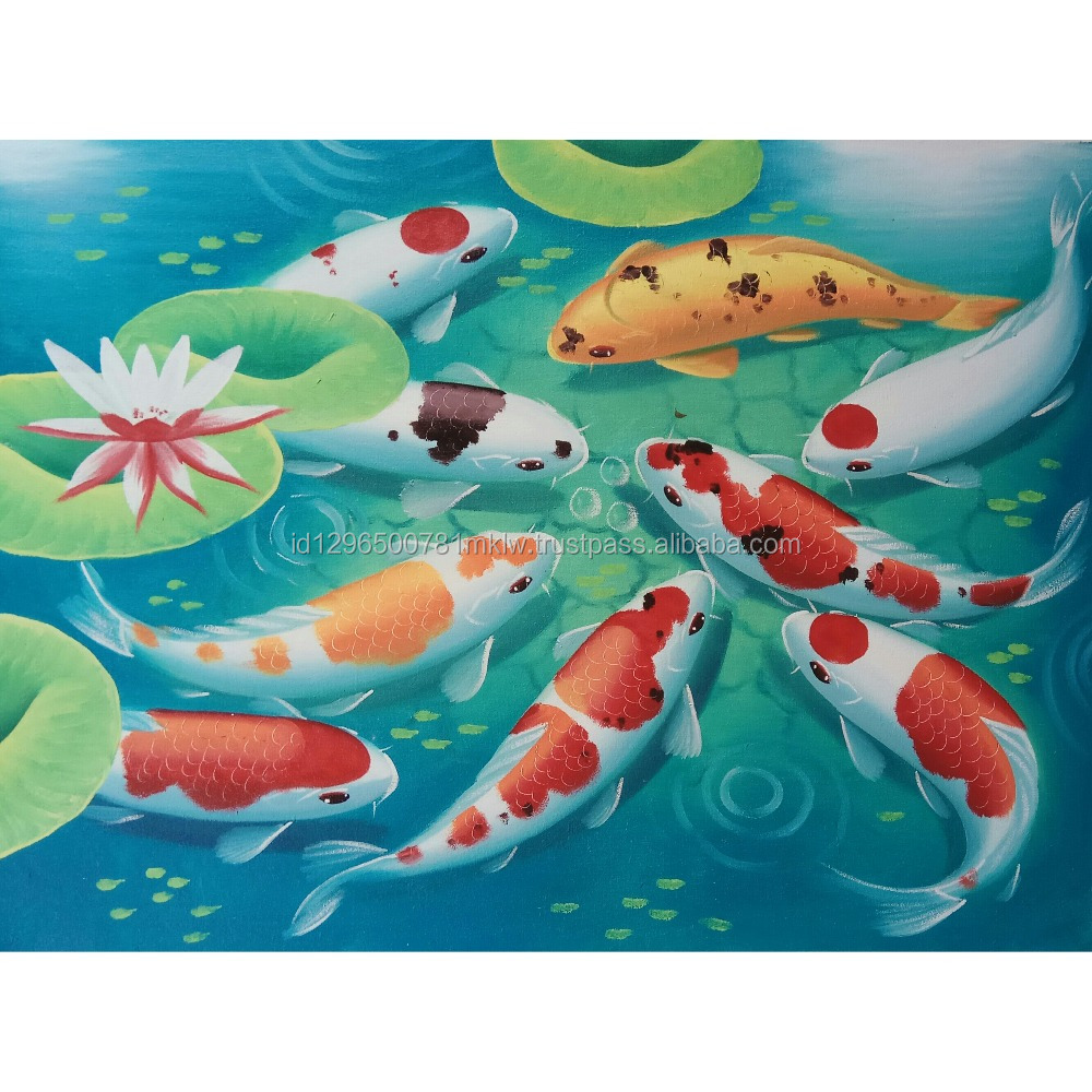 Wholesale Price High Quality Handmade Canvas Modern Koi Fish Painting Wall Art