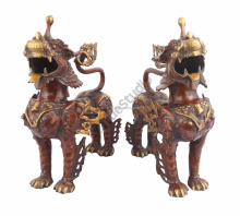 Indian Brass Chinese Japanese Lion Pair Fengshui Vastu Decor Showpiece 16""