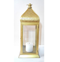 Large Moroccan Iron Glass Gold Plated Candle Holder Wedding Home Decoration Big Moroccan Lantern