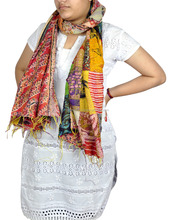 Kantha Work Girls Neck Wrap Women Wear Hijab Shawl Ladies Scarf Stole Scarves Multicolors