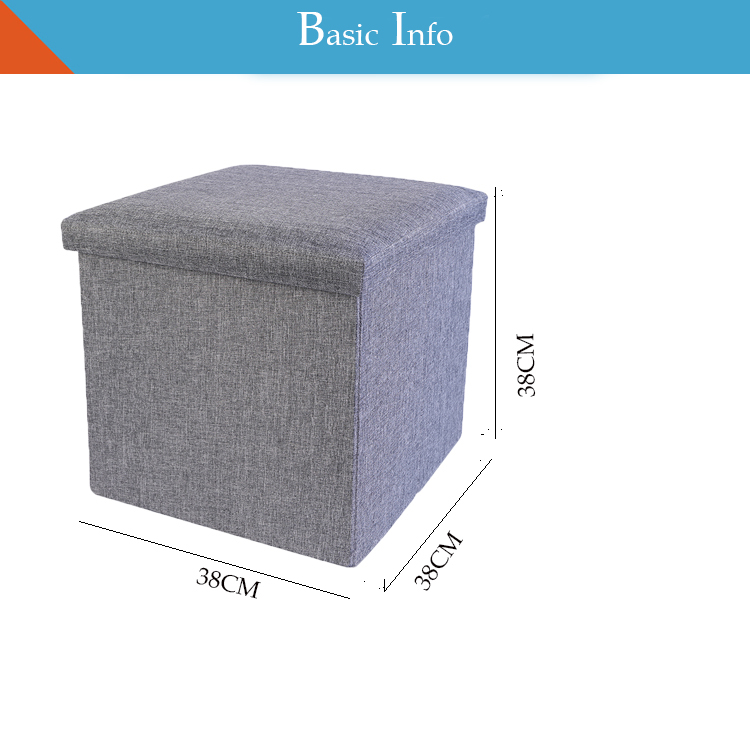 2018 fabric foldable linen ottoman with storage