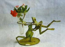 Antique Loving Frog Pair Vase of Metal