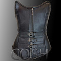 Overbust steel boned gothic black leather corset supplier cosh international