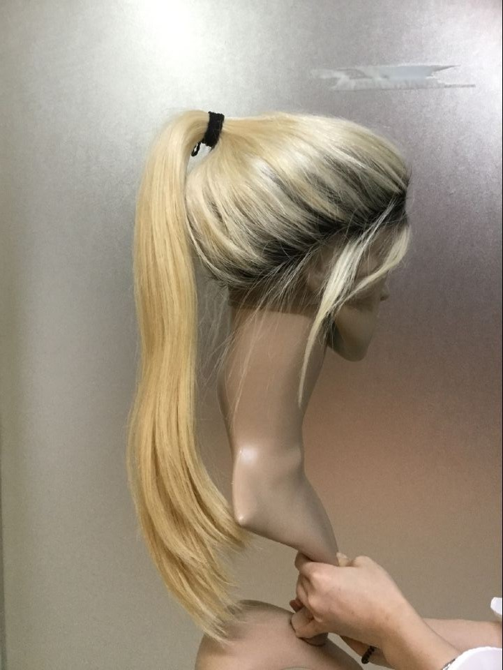 Dark Roots Human Hair Blonde Wigs , Straight Body Wave 1B 613 Full Lace And Lace Front Wig