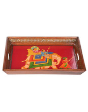 Rajasthani Wooden Handicraft Hand Painted Serving Tray for Utility And Table Decorative