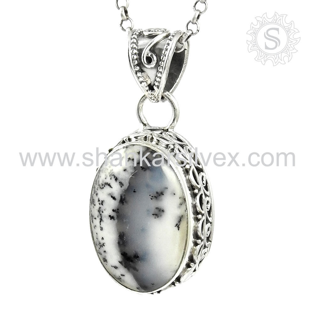 Fabulous design dendrite opal silver pendant 925 sterling silver gemstone pendant online wholesale jewelry supplier