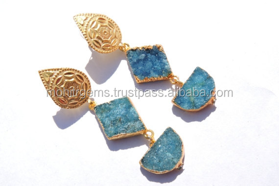Kite And D-Shape E-Plating Pastel Color Cap Handmade Earring