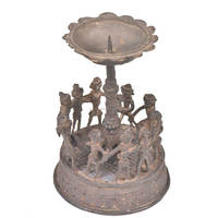 Handmade Indian Brass Tribal Candle Holder 4.75 x 3.25 inches CDH-39