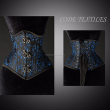 New Purple Steampunk Corset Silver Buckles Over Front Busk underbust brocade corsets