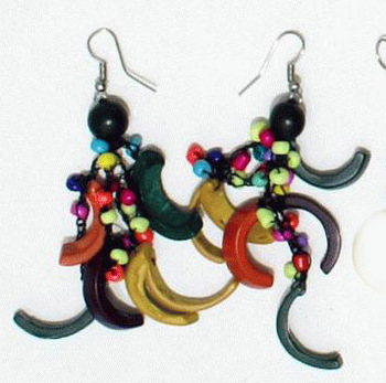 Seed Beads Colored Coconut Shell Earrings Peruvian Handmade Jewelry Wholesale