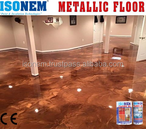 ISONEM METALLIC EPOXY FLOOR PAINT, LIQUID ATTRACTIVE HIGH QUALITY METAL COATING, MADE IN TURKEY, SILVER, GOLD, BRONZE AND MORE..